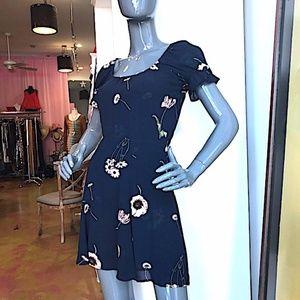 REFORMATION Floral Crepe Scoop Neck Babydoll Dress
